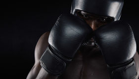 African american boxer ready for fight royalty free stock images
