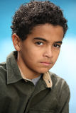 African American boy. Portrait  of African American boy by the swimming pool Stock Photo