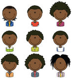 African American boy avatars Stock Photography