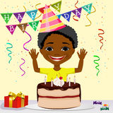 African american boy boy celebrating his birthday smiling Stock Photography