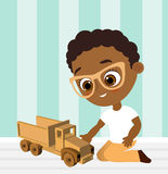 African American boy with glasses and toy car. Boy playing car. Vector illustration eps 10 isolated on white background. Flat cart Stock Photos
