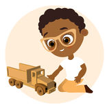 African American boy with glasses and toy car. Boy playing car. Vector illustration eps 10 isolated on white background. Flat cart Royalty Free Stock Photography