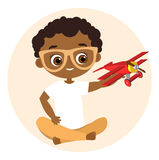 African American boy with glasses and toy plane. Boy playing with airplane. Vector illustration eps 10 isolated on white backgroun. D. Flat cartoon style Stock Images