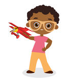 African American boy with glasses and toy plane. Boy playing with airplane. Vector illustration eps 10 isolated on white backgroun. D. Flat cartoon style Royalty Free Stock Images