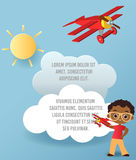 African American boy with glasses and toy plane. Boy playing with airplane. Vector Paper art of cloud and plane in the sky. Templa Royalty Free Stock Photo
