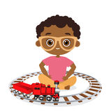 African American boy with glasses and toy train. Boy playing with train. Vector illustration eps 10 isolated on white background. Flat cartoon style vector illustration
