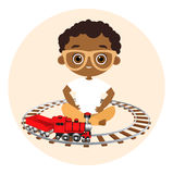 African American boy with glasses and toy train. Boy playing with train. Vector illustration eps 10 isolated on white background. Flat cartoon style Stock Image