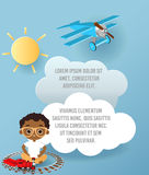 African American boy with glasses and toy train. Boy playing with train. Vector Paper art of cloud and plane flying in the sky. Te Stock Image