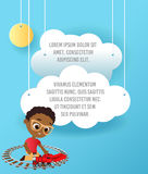 African American boy with glasses and toy train. Boy playing with train. Vector Paper art of cloud and plane flying in the sky. Te Stock Photos