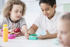 African-american boy and his friend eating an apple during break royalty free stock images