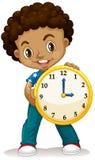 African American boy holding a clock Stock Photos