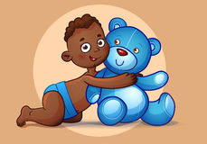 African American  boy hugs Teddy Bear toy on white Royalty Free Stock Photography