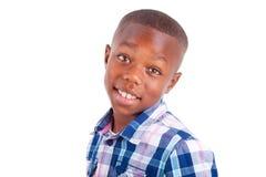 African American boy looking  - Black people. African American boy looking, isolated on white background - Black people Stock Photo