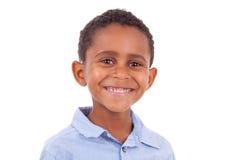 African American boy looking  - Black people. African American boy looking, isolated on white background - Black people Royalty Free Stock Photos