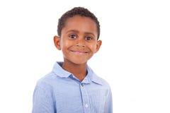 African American boy looking  - Black people. African American boy looking, isolated on white background - Black people Royalty Free Stock Images