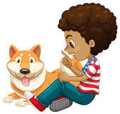 African american boy and a pet dog Royalty Free Stock Images