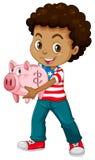 African american boy and piggy bank Stock Photos