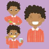 African American Boy Brushing Teeth Activity Vector Collection Stock Images