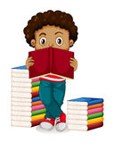 African American boy reading books. Illustration Royalty Free Stock Photo