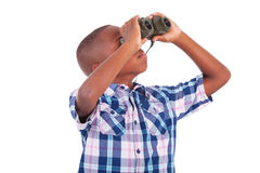 African American boy using binoculars - Black people Royalty Free Stock Image