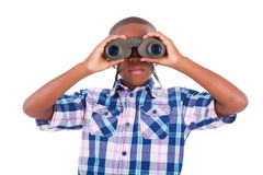 African American boy using binoculars - Black people Stock Images