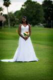 African american bride. An african american bride smiling as she is arriving in an outdoor ceremony stock photos