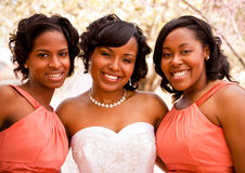 African American bride with her bridesmaids. Portrait of an African American bride with her bridesmaids Royalty Free Stock Photography