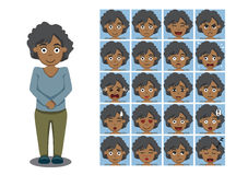 African American Brother Cartoon Emotion faces Vector Illustration Royalty Free Stock Photography
