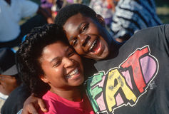 African American brother and sister smiling Stock Images