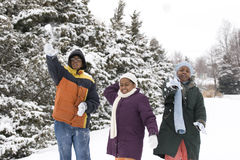 African American brothers and sister sliding on a sled. Stock Photography