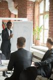 African american business coach explaining drawn chart to employ. Young confident african american business coach explaining drawn chart to team of coworkers Royalty Free Stock Photos