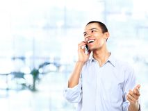 african american business executive talking on cellphone Stock Image