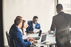 African-American business leader in working environment royalty free stock images