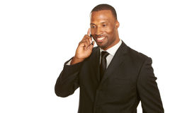 African american business male talking on cell phone. Isolated on white with copy space Royalty Free Stock Photo
