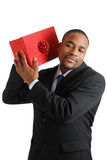 African american business man with christmas gift Stock Photo