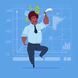 African American Business Man With Dollar Sign Over Finance Chart Graph Background Money Success Concept. Flat Vector Illustration Royalty Free Stock Images