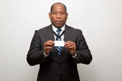 African American Business Man Showing ID Tag royalty free stock photos