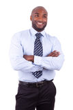 African American business man  with folded arms. Isolated on white background Royalty Free Stock Image