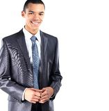 African American business man with folded arms. Isolated on white background Stock Photo