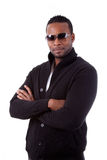 African american business man with folded arms. Isolated on white background Stock Images
