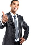 African American business man gesturing a thumbs up sign on Stock Photos