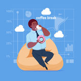 African American Business Man Having Lunch During Coffee Break In Office Comfort Zone. Flat Vector Illustration Royalty Free Stock Photo