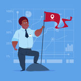 African American Business Man Hold Flag Successful Achievement Concept Royalty Free Stock Photo