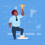African American Business Man Hold Prize Winner Cup, Success Concept Stock Photography