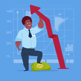 African American Business Man Hold Red Arrow Up Financial Success Concept. Flat Vector Illustration Royalty Free Stock Photo