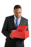 African american business man holding a christmas Stock Image