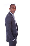 African american business man over white background - Black peop Royalty Free Stock Photo
