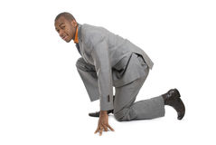 African american business man ready to run Royalty Free Stock Photo