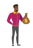African-american business man showing money bag. Royalty Free Stock Photos