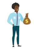 African-american business man showing money bag. Stock Photography
